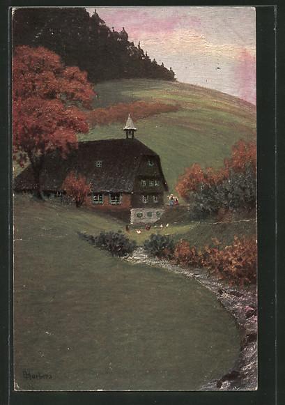 Künstler-AK E. Harbers: Bauernhaus an einem Fluss