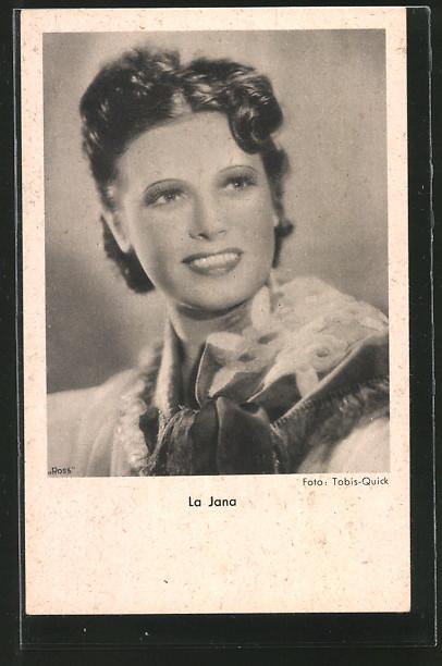 AK Schauspielerin La Jana lächelnd zur Seite schauend