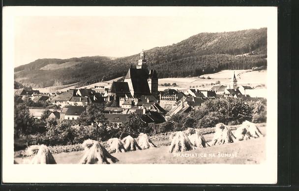 AK Prachatice na Sumave, Ortsansicht von einem Hügel aus