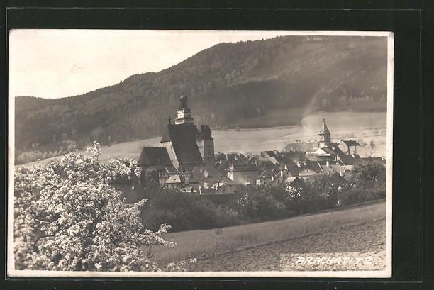 AK Prachatitz, Ortsansicht von einem Hügel aus