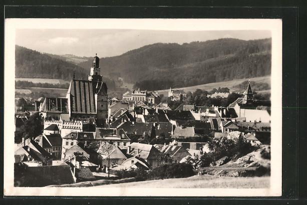 AK Prachatice, Ortsansicht von einem Hügel aus