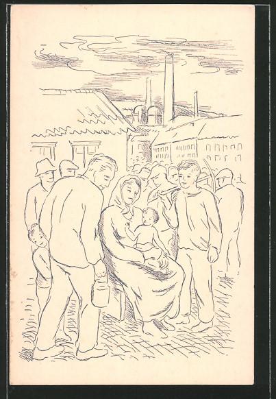 AK Zrozeni prace, Arbeiter und Mutter mit ihrem Kind auf einem Stadtplatz