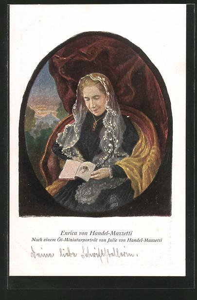AK Portrait der Enrica von Handel-Mazzetti, grosse deutsche Dichterin