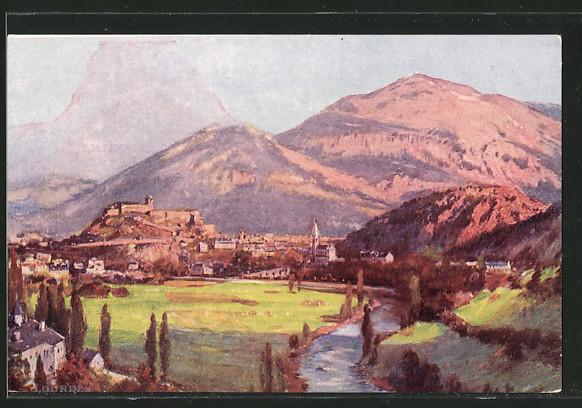 Künstler-AK sign.Eugene Bourgeois: Lourdes, Panorama über die Stadt
