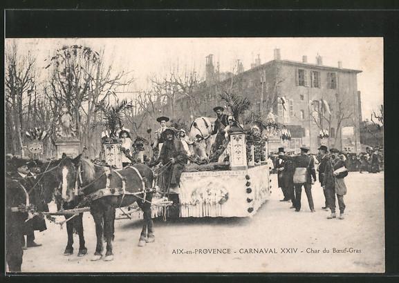 AK Aix-en-Provence, carnaval XXIV, char du boeufs-gras