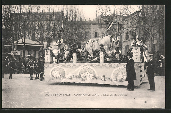 AK Aix-en-Provence, carnaval XXIV, char du boeufs-grad