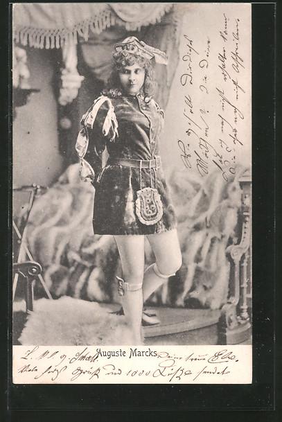 AK Schauspielerin Auguste Marcks mit Hut