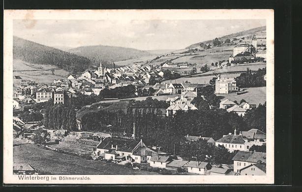 AK Winterberg, Ortsansicht von einem Hügel aus