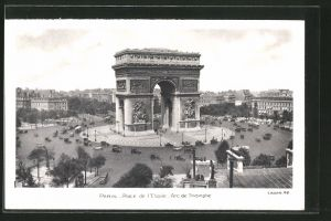 AK Paris, place de l' Étoile, L'Arc de Triomphe, Triumphbogen, Strassenbahn