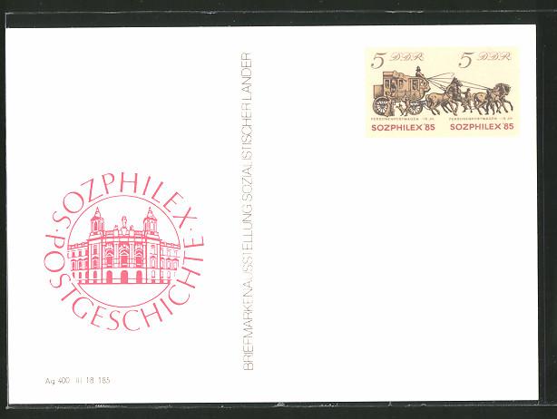 AK Briefmarkenausstellung Sozialist. Länder 1985, Sozphilex, Postgeschichte, Ganzsache Sozphilex '85 Wert 5+5 Pf.