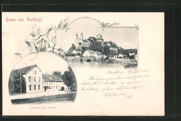 AK Aarburg, Gasthof zur Krone, Blick zum Ort