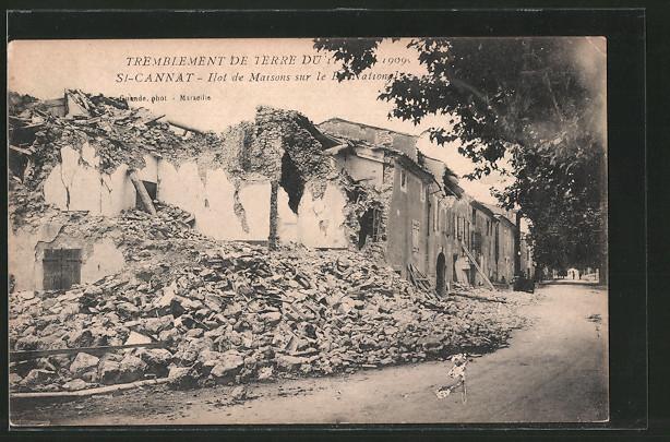 AK St-Cannat, ilot de Maisons sur le Bd.National, Tremblement de terre du 11 Juin 1909