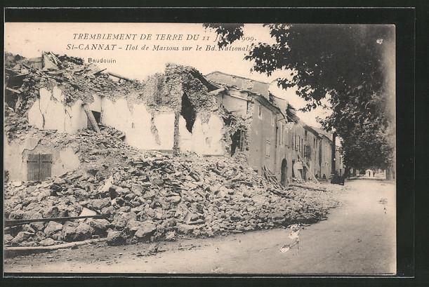 AK St-Cannat, ilot de Maisons sur le Bd. National, Tremblement de terre du 11 Juin 1909