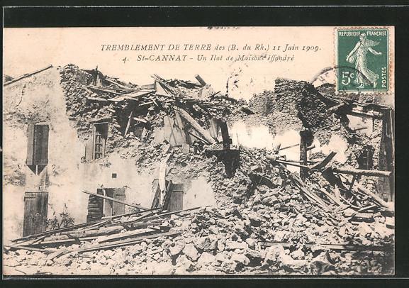 AK St-Cannat, un ilot de Maisons éffondré, Tremblement de terre du 11 Juin 1909