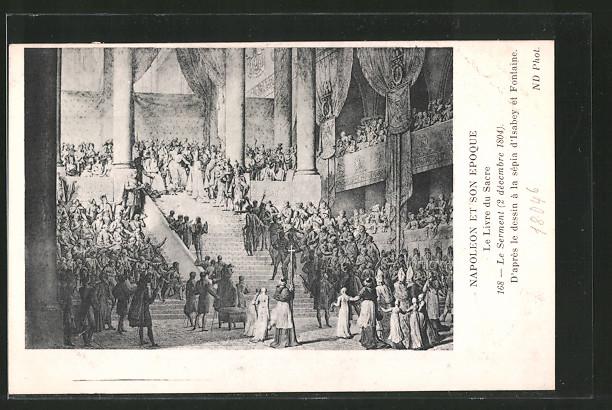 AK le serment 1804, d' après le dessin à la sépia d' Isabey et fontaine, Befreiungskriege