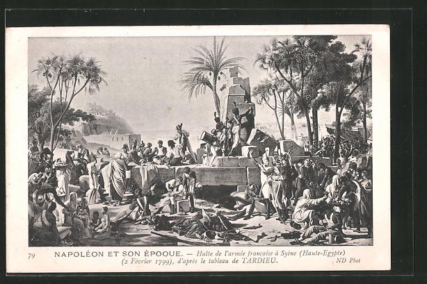 AK halte de l' armée francaise à Syène, d' après le tableau de Tardieu, Befreiungskriege