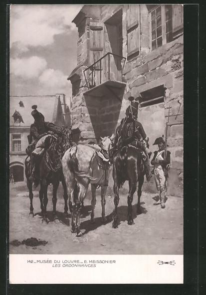 AK les ordonnances, berittene Soldaten vor einem Haus während der Befreiungskriege