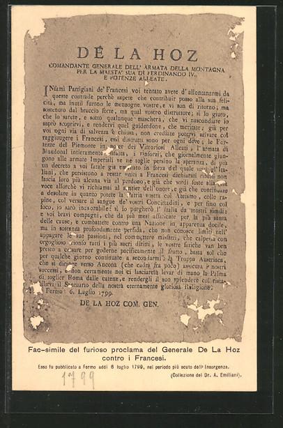 AK fac-simile del furioso proclama del generale de La Hoz contro i Francesi 1799, Befreiungskriege