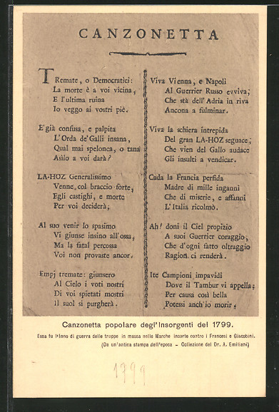 AK canzonetta popolare degl' insorgenti del 1799, Befreiungskriege