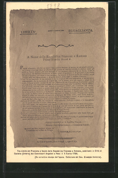 AK fac-simile del proclama a favore della repubblica Francese e Romana 1798, Befreiungskriege