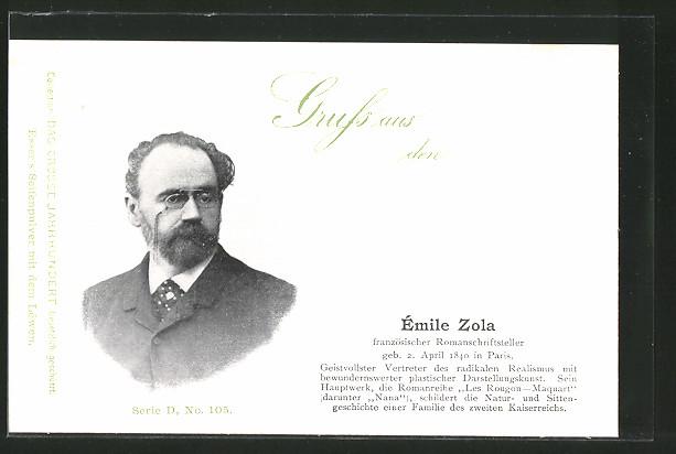 AK Portrait des Schriftstellers Émile Zola