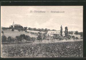 AK St. Chrischona, Generalansicht vom Feld aus