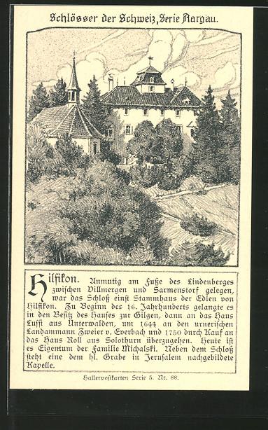 Künstler-AK Hilfikon, Partie am Schloss