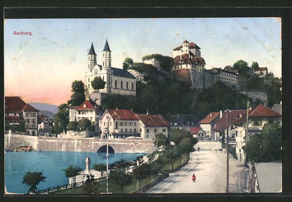 AK Aarburg, Ortsansicht mit Blick zur Festung