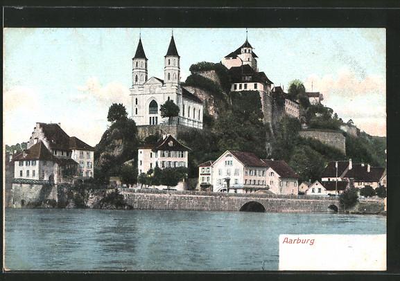 AK Aarburg, Blick von der Aare zur Festung