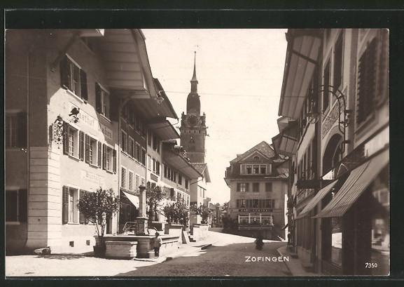 AK Zofingen, Strassenpartie mit Gasthaus
