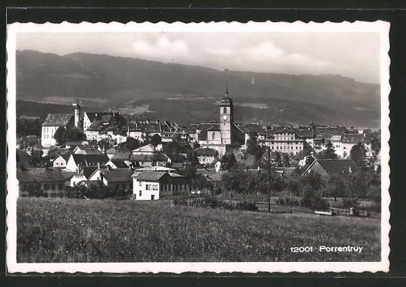AK Porrentruy, Ortsansicht mit Kirchturm