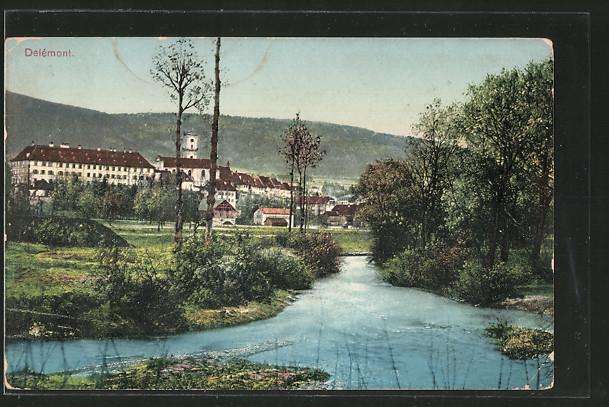 AK Delémont, Teilansicht mit Flusspartie