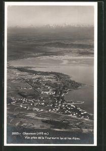 AK Chaumont, vue prise de la tour sur le lac et les Alpes