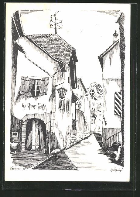 Künstler-AK Saint Blaise, une vieille rue avec la maison
