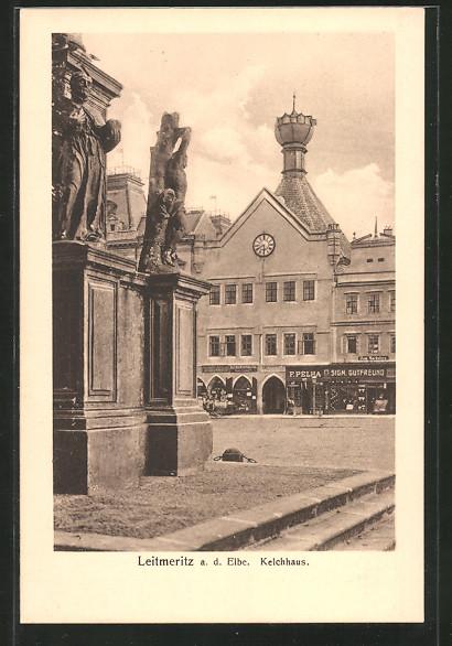 AK Leitmeritz / Litomerice, Partie am Kelchhaus mit Museum