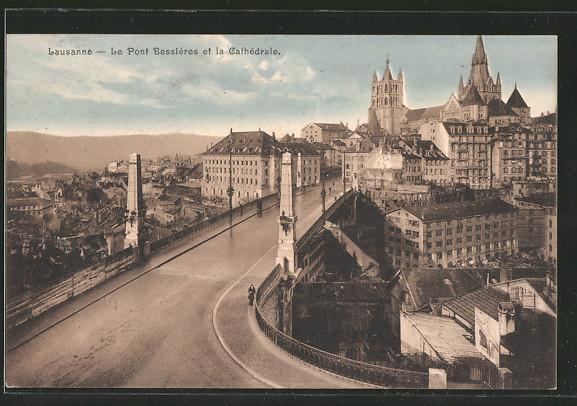 AK Lausanne, le pont Bessières et la cathédrale