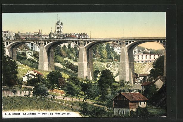 AK Lausanne, le pont de Montbenon, vue prise en direction de l'est