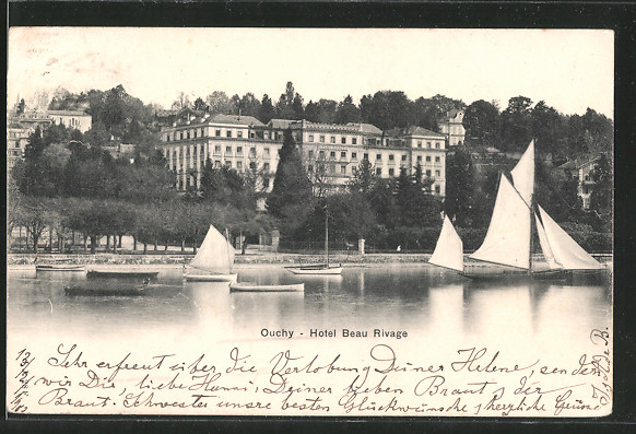 AK Ouchy, l'hôtel Beau-Rivage, vue prise du lac, un voilier