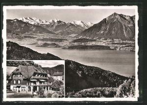 AK Heiligenschwendi, Hotel Pension Alpenblick, Totale des Ortes