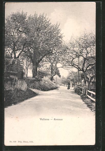 AK Vulliens, l'avenue principale, une femme dans le fond