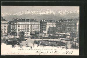 AK Grenoble, la place Victor-Hugo et la chaine des Alpes