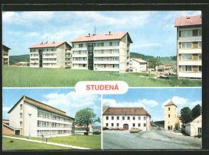 AK Studena, Strassenpartie mit Kirche, Ortspartie mit Neubauten, Gebäudeansicht