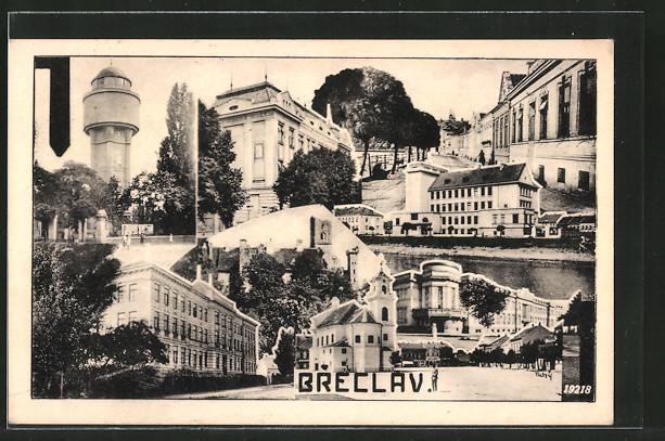 AK Breclav, Strassenpartie mit Gebäudeansicht, Wasserturm, Ruine