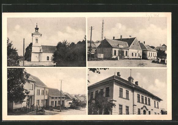 AK Habrovany, Kirche, Strassenpartien, Gebäudeansicht