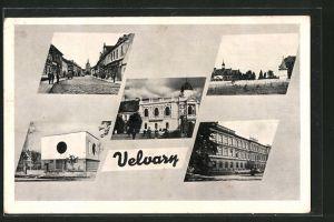 AK Velvary, Strassenpartien mit Gebäudeansicht