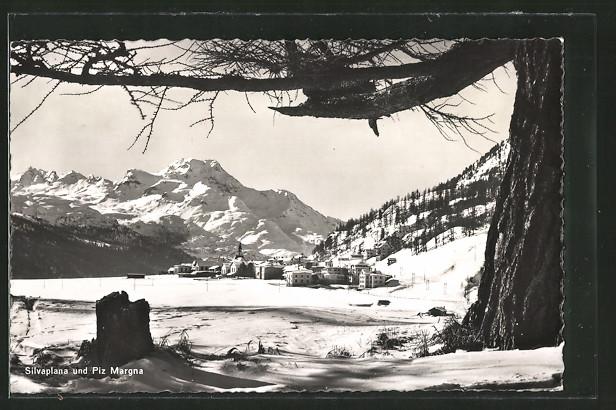 AK Silvaplana, Ortsansicht im Winter
