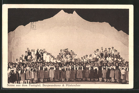 AK Kriens, 33. Luz. Kantonal-Gesangfest 1929, Scene aus dem Festspiel Bergwanderer & Pilatuschor