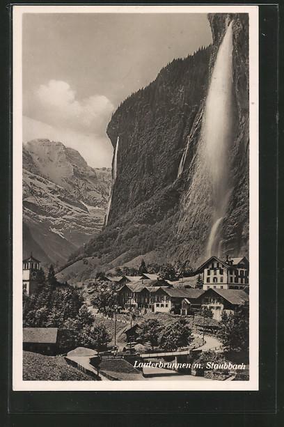 AK Lauterbrunnen, Ortspartie mit Staubbach