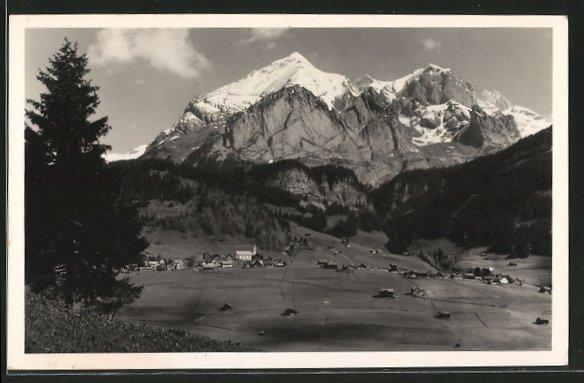 AK Wildhaus, Blick zum Ort mit Schafberg