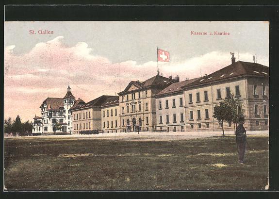AK St. Gallen, Kaserne und Kantine, Soldat in Uniform mit geschulterten Gewehr